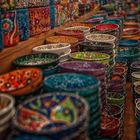 authentic ceramic dishes in the oriental bazaar in the tourist souvenir shop