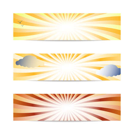 sunset banners vector Stock Vector - 17804633