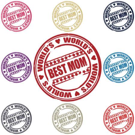 最佳妈妈邮票矢量