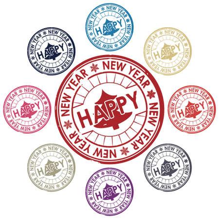 happy new year stamp vector Vector