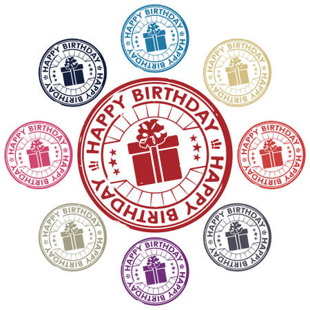 happy birthday stamp vector Stock Vector - 17804676
