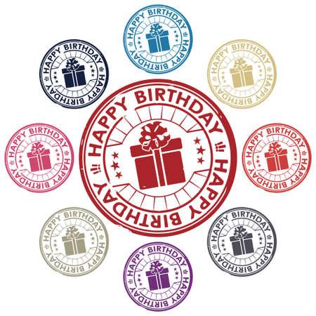 happy birthday stamp vector Stock Vector - 17804676