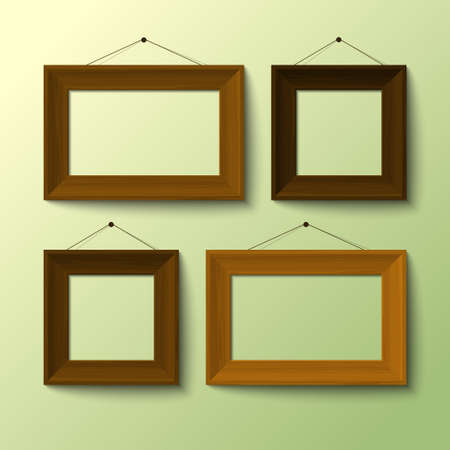 picture window: realistic frames for images vector Illustration