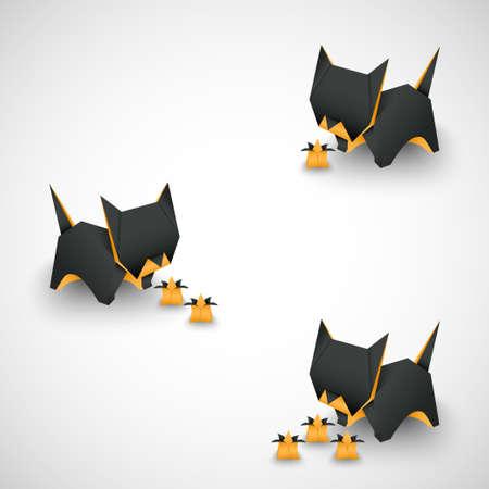 odd job: origami cats options vector
