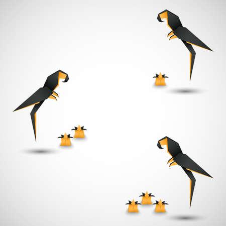 odd job: origami birds options vector Illustration