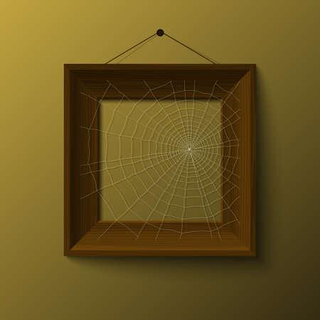 realistick woowen frame with spiderweb vector Stock Vector - 17804693