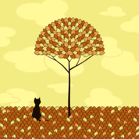 lonely cat and tree vector Stock Vector - 17948084