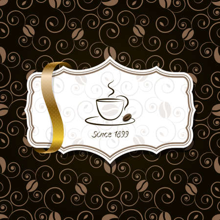 coffee with golden ribbon  Vector