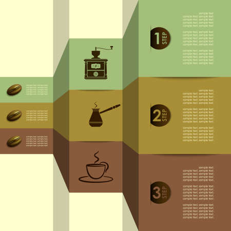 coffee mill: coffee tools steps vector Illustration