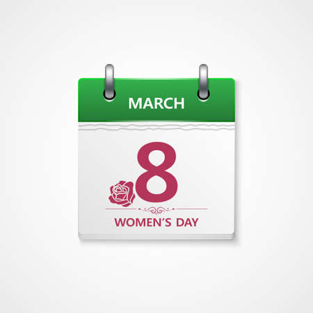 mujer con rosas: womens d�as calendario vector Vectores
