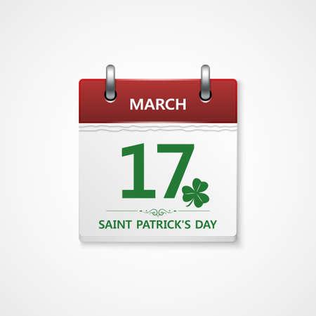 calendar vector: patricks day calendar vector