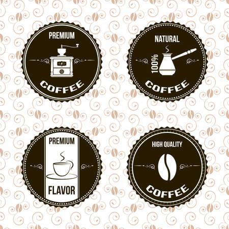 młynek do kawy: Etykiety kawy Ilustracja