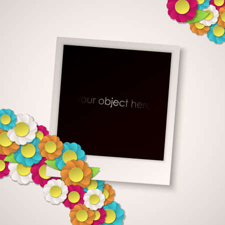 photo frame with paper flowers Vector