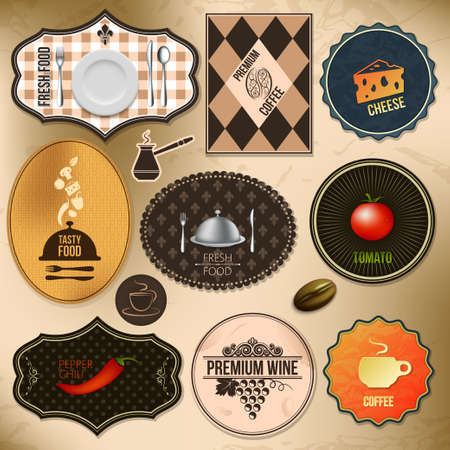 set of elements  food and coffee theme   Vector