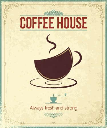 macinino caffè: annata caff� sfondo Vettoriali