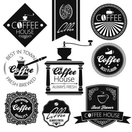 cafe latte: coffee set labels