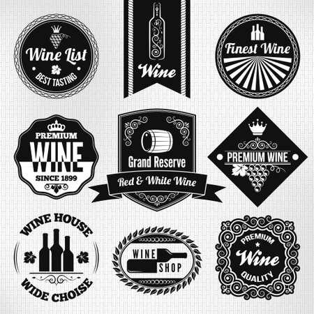 wijn en spijzen: wijn set Stock Illustratie