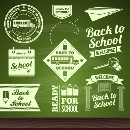 sistema de la escuela, vector de nuevo a la escuela conjunto de etiquetas