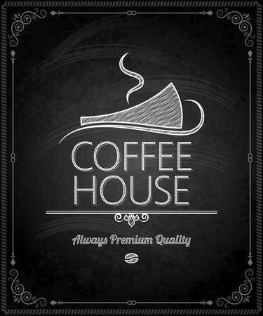 white beans: chalkboard - frame coffee menu
