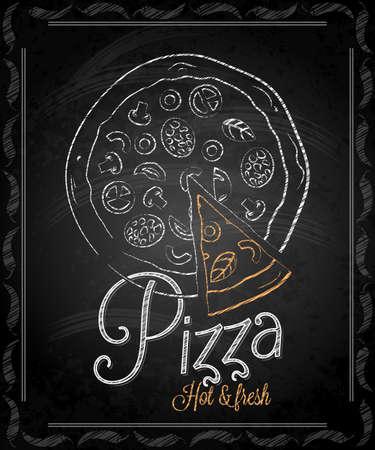黒板 - フレーム ピザのメニュー  イラスト・ベクター素材