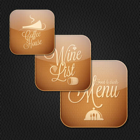 food and drinks menu icon set  Vector