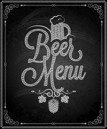 barley hop: chalkboard - frame beer menu  Illustration