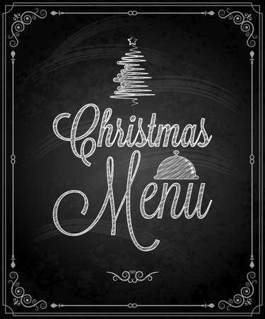 christmas menu: chalkboard - frame merry christmas menu