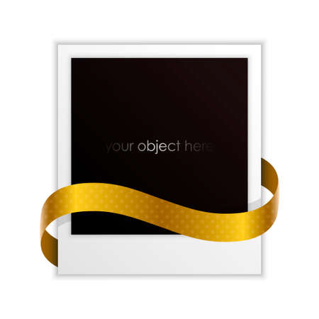 photo frame with golden ribbon for your object Stock Vector - 22734349