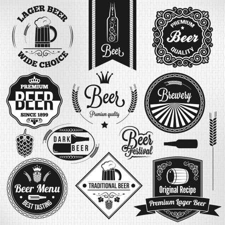 vintage: cerveza lager Establecer etiquetas vendimia Vectores
