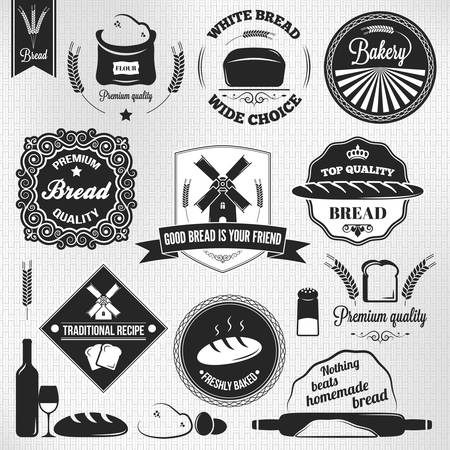 bakery products: bread set bakery vintage labels