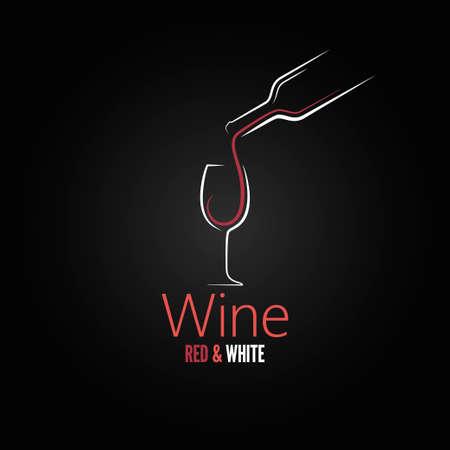 botella: Diseño del menú del concepto copa de vino Vectores