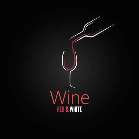 bottle of wine: wine glass concept menu design  Illustration
