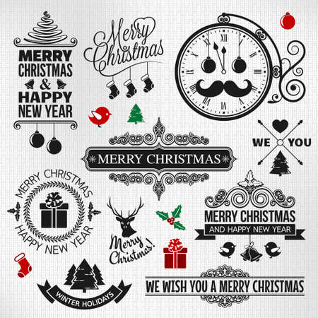 Christmas happy new year vintage orntae label set  Vector