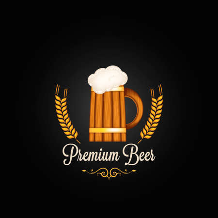 beer mug barley vintage design background  Vector
