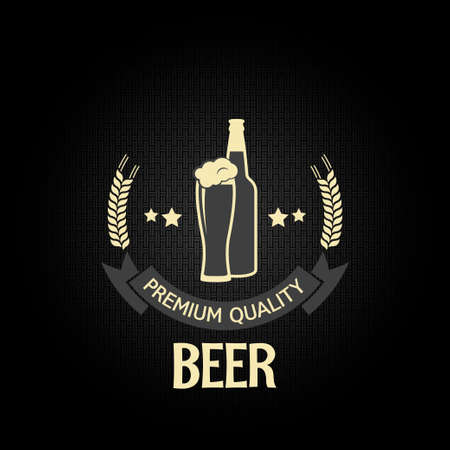beer glass bottle barley design menu background  Vector