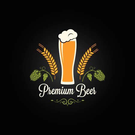 beer glass hops barley design menu background  Vector