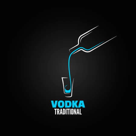 vodka shot glass bottle design background 8 eps Vector