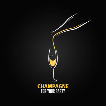 champagne glazen fles ontwerp achtergrond Vector Illustratie