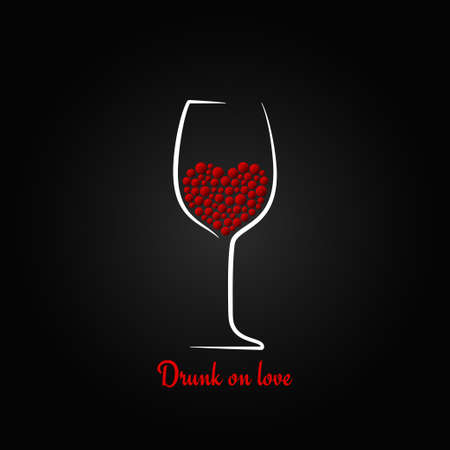 wine glass love concept valentines day design background Vector