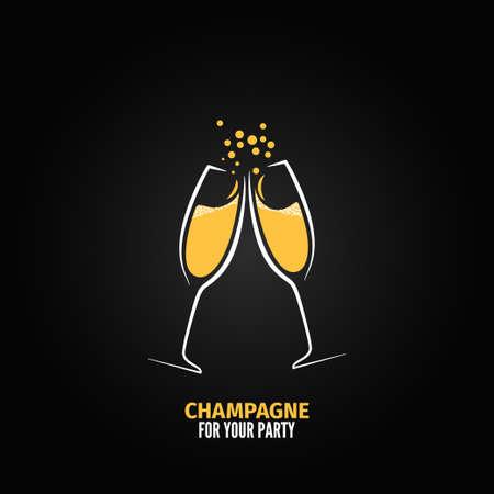 Menu verre de champagne de fête de conception de fond
