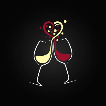 와인: 레드와 화이트 와인의 사랑 개념 디자인 배경 일러스트