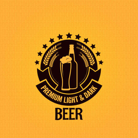 beer bottle glass vintage background Vector