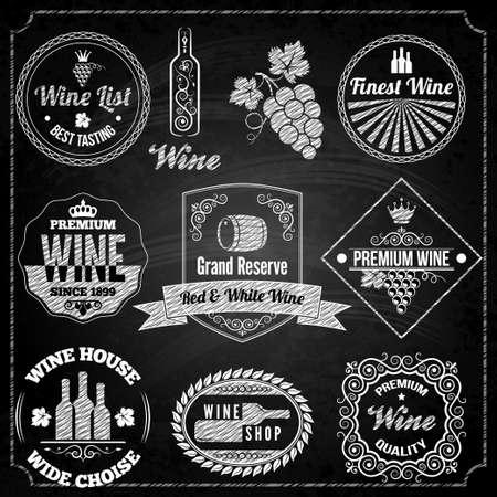 vinho: elementos do conjunto vinho negro Ilustração