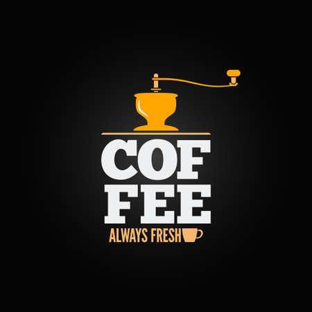 cafe shop: coffee mill grinder cup menu design background Illustration