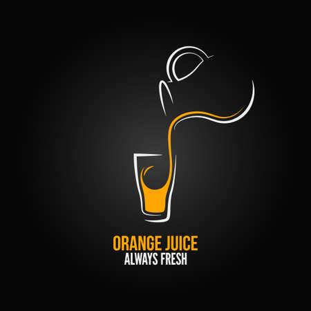 verre jus orange: jus d'orange bouteille en verre design fond du menu Illustration