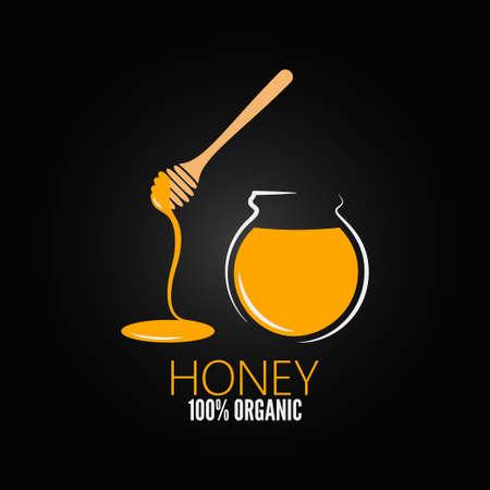 pot miel: bocal en verre de pot de miel de conception de fond