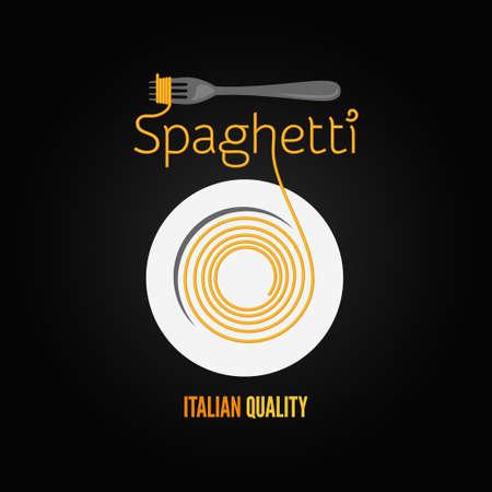 plato pasta: pasta de espaguetis men� plato tenedor de fondo Vectores