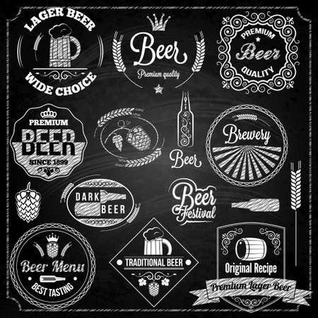 beer set elements chalkboard Vector