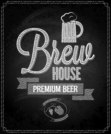 Menu di birra casa di design sfondo di lavagna Archivio Fotografico - 25298419