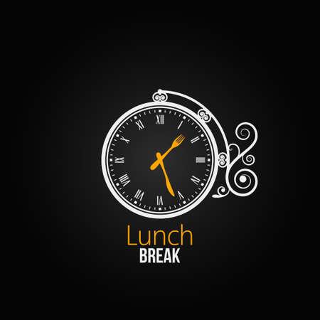 pause repas: d�jeuner concept de l'horloge de conception de fond Illustration